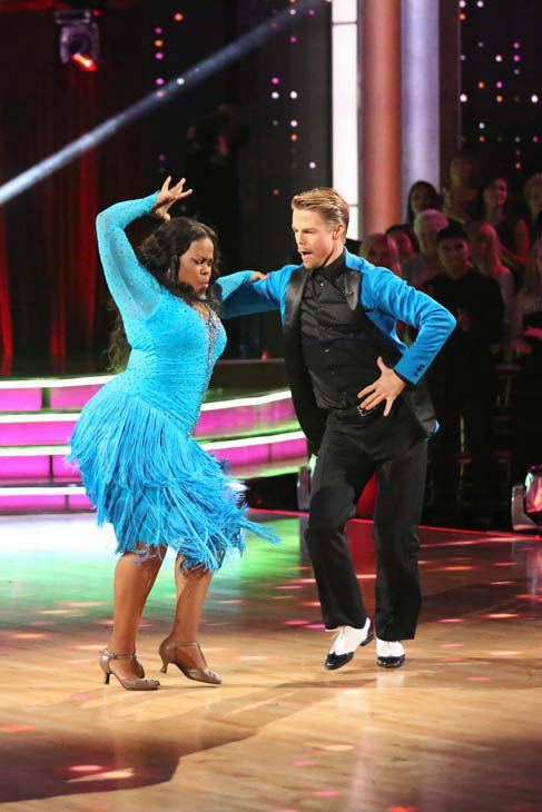 "<div class=""meta image-caption""><div class=""origin-logo origin-image ""><span></span></div><span class=""caption-text"">Amber Riley and Derek Hough perform their Samba and Quickstep fusion dance on the season 17 finale of 'Dancing With The Stars' on Nov. 26, 2013. They received 30 out of 30 points from the judges. The two scored a total of 94 out of 95 points for both nights. (ABC Photo/ Adam Taylor)</span></div>"