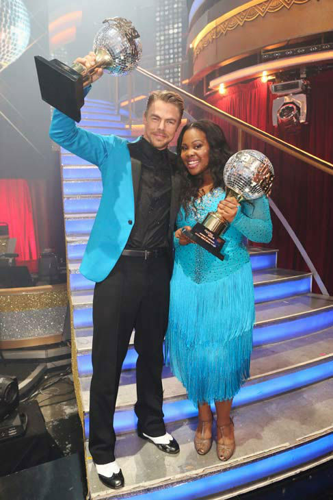 Amber Riley and Derek Hough appear in a still from 'Dancing With The Stars' on Nov. 26, 2013.