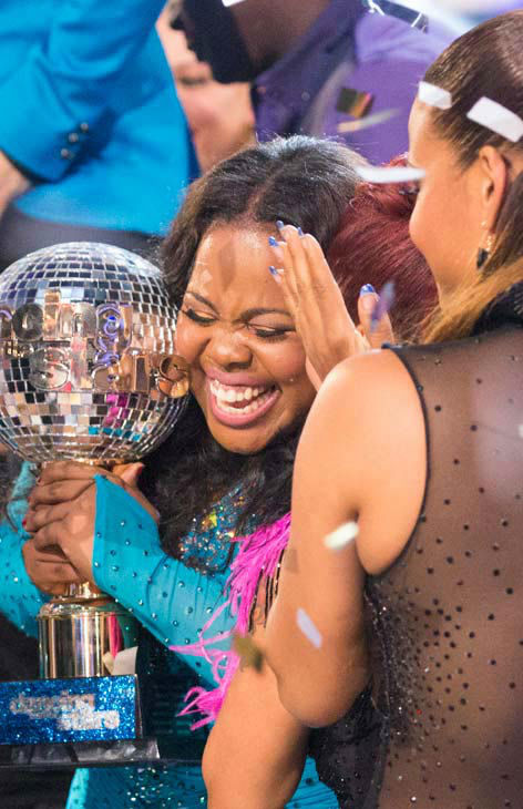 Amber Riley reacts winning season 17 of &#39;Dancing With The Stars&#39; on Nov. The two scored a total of 94 out of 95 points for both nights. <span class=meta>(ABC Photo&#47; Adam Taylor)</span>