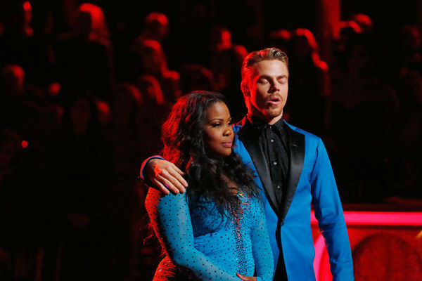 Amber Riley and Derek Hough await their fate on the season 17 finale of &#39;Dancing With The Stars&#39; on Nov. 26, 2013. The two scored a total of 94 out of 95 points for both nights. <span class=meta>(ABC Photo&#47; Kelsey McNeal)</span>