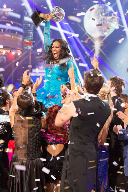 "<div class=""meta ""><span class=""caption-text "">Amber Riley reacts winning season 17 of 'Dancing With The Stars' on Nov. The two scored a total of 94 out of 95 points for both nights. (ABC Photo/ Adam Taylor)</span></div>"
