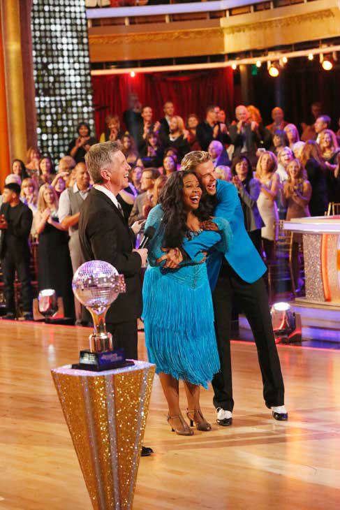 "<div class=""meta image-caption""><div class=""origin-logo origin-image ""><span></span></div><span class=""caption-text"">Amber Riley and Derek Hough react winning season 17 of 'Dancing With The Stars' on Nov. The two scored a total of 94 out of 95 points for both nights. (ABC Photo/ Kelsey McNeal)</span></div>"