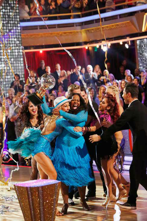 "<div class=""meta image-caption""><div class=""origin-logo origin-image ""><span></span></div><span class=""caption-text"">Amber Riley reacts winning season 17 of 'Dancing With The Stars' on Nov. The two scored a total of 94 out of 95 points for both nights. (ABC Photo/ Kelsey McNeal)</span></div>"