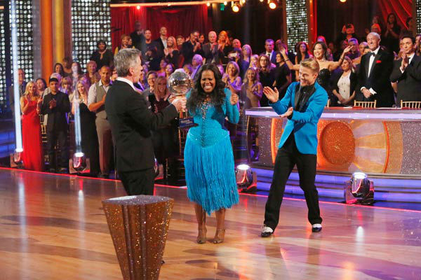 Amber Riley and Derek Hough react winning season 17 of &#39;Dancing With The Stars&#39; on Nov. The two scored a total of 94 out of 95 points for both nights. <span class=meta>(ABC Photo&#47; Kelsey McNeal)</span>