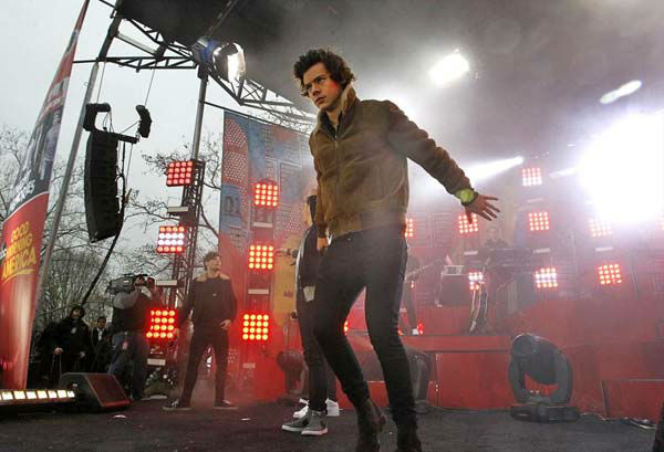 Harry Styles of One Direction performs on 'Good Morning America' in New York City on Nov. 26, 2013.
