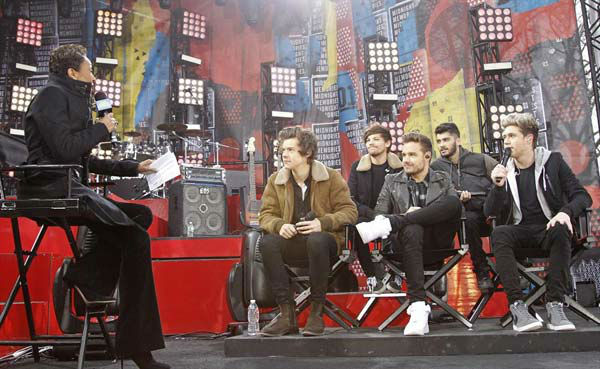 One Direction appears on 'Good Morning America' in New York City on Nov. 26, 2013.