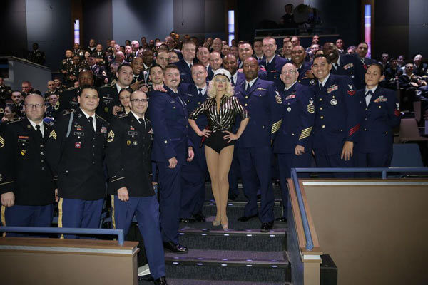 Christina Aguilera posted this photo on her Twitter account on Nov. 28, 2013, with the caption, &#39;Happy Thanksgiving! No better way to spend it than with the men and women who serve our country.&#39; <span class=meta>(twitter.com&#47;xtina)</span>