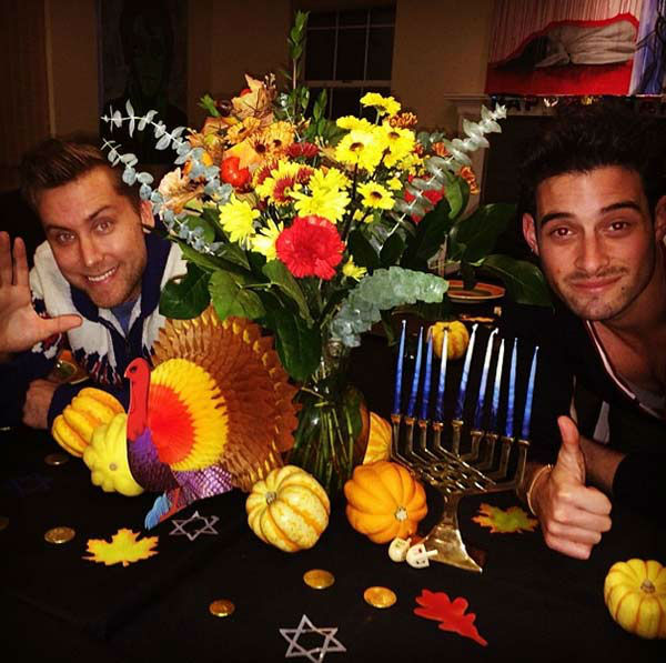 Lance Bass posted this photo on Instagram on Nov. 28, 2013, with the caption, &#39;Our #Thanksgivukkah center piece is done!! What ya think?!&#39;  <span class=meta>(instagram.com&#47;p&#47;hPXDFGxsTz)</span>