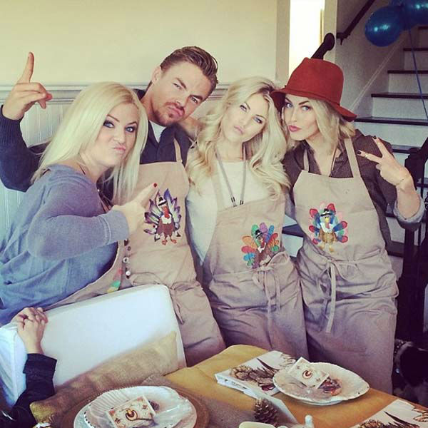 "<div class=""meta ""><span class=""caption-text "">Julianne Hough posted this photo on Instagram on Nov. 28, 2013, with the caption, 'Sliblings and our homemade turkey aprons!! Love my sissy's and my bro... @shareewise we miss you and need you here!! #hough #family #thanksgiving' (instagram.com)</span></div>"