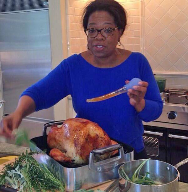 Oprah Winfrey posted this photo on her Twitter account on Nov. 28, 2013, with the caption, &#39;Happy Thanksgiving to all...getting turkey ready. 3 hours till dinner...&#39; <span class=meta>(twitter.com&#47;Oprah)</span>