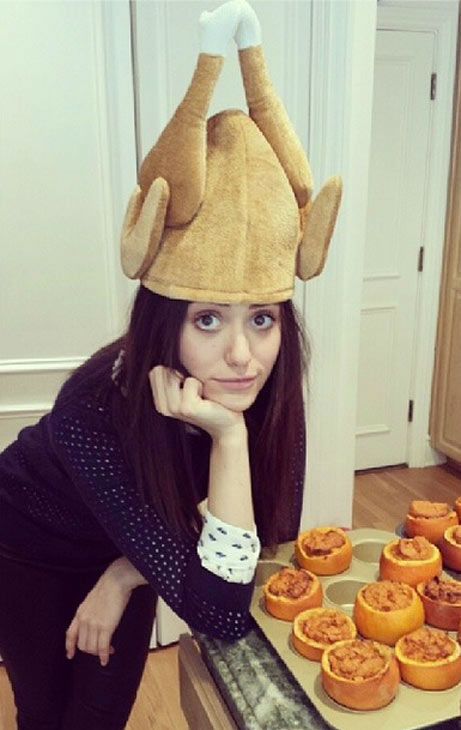 "<div class=""meta ""><span class=""caption-text "">Emmy Rossum posted this photo on Instagram on Nov. 28, 2013, with the caption, 'Found the Turkey hat!!! Crisis averted!'  (instagram.com/p/hReLw-o9d2)</span></div>"