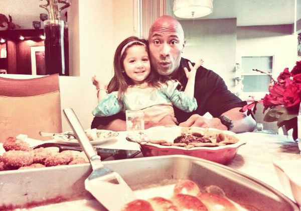 Dwayne Johnson posted this photo on his Twitter account on Nov. 28, 2013, with the caption, &#39;Happy Thanksgiving to you and your family! #Grateful #SugarHighBliss.&#39; <span class=meta>(twitter.com&#47;TheRock)</span>