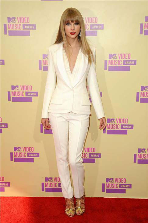 Taylor Swift appears at the 2012 MTV Video Music Awards in Los Angeles, California on Sept. 6, 2012.