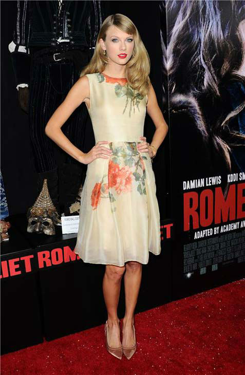 "<div class=""meta image-caption""><div class=""origin-logo origin-image ""><span></span></div><span class=""caption-text"">Taylor Swift appears at the 'Romeo and Juliet' premiere in Los Angeles, California on Sept. 24, 2013.  (Sara De Boer / startraksphoto.com)</span></div>"