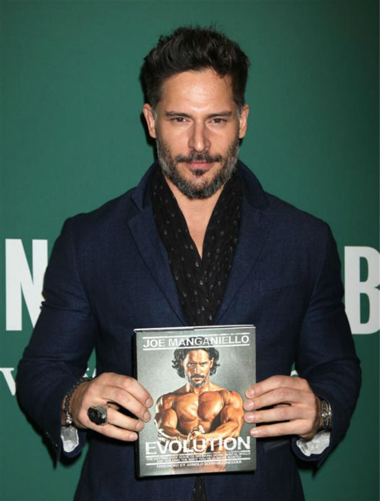 The &#39;Behind-The-Greatest-Book-Cover-Ever&#39; stare: Joe Manganiello appears at an event promoting his book &#39;Evolution: The Cutting Edge Guide to Breaking Down Mental Walls and Building the Body You&#39;ve Always Wanted&#39; at Barnes and Noble in New York on Dec. 3, 2013. <span class=meta>(Adam Nemser &#47; Startraksphoto.com)</span>