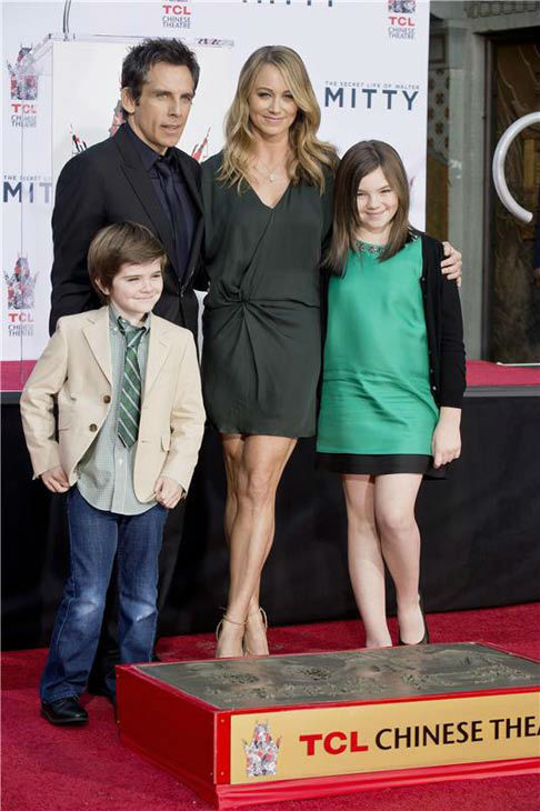 "<div class=""meta ""><span class=""caption-text "">Ben Stiller, wife Christine Taylor and their kids, Quinlin Stiller and Ella Stiller, appear at Stiller's hand and footprint ceremony at the TCL Chinese Theatre in Los Angeles on Dec. 3, 2013. (Lionel Hahn/Abacausa/startraksphoto.com)</span></div>"