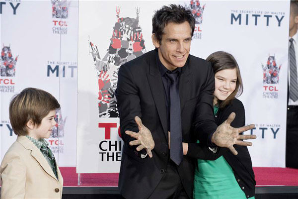 Ben Stiller and his children Quinlin Stiller and Ella Stiller appear at Stiller&#39;s hand and footprint ceremony at the TCL Chinese Theatre in Los Angeles on Dec. 3, 2013. <span class=meta>(Lionel Hahn&#47;Abacausa&#47;startraksphoto.com)</span>