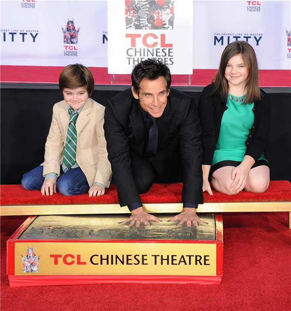 Ben Stiller and his children Quinlin Stiller and Ella Stiller appear at Stiller&#39;s hand and footprint ceremony at the TCL Chinese Theatre in Los Angeles on Dec. 3, 2013. <span class=meta>(Daniel Robertson&#47;startraksphoto.com)</span>