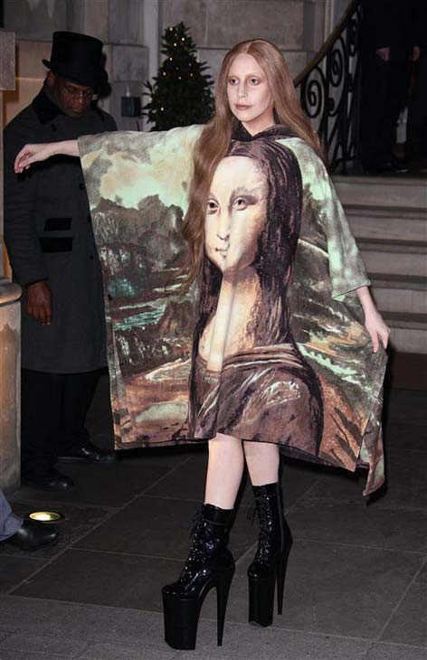 Lady Gaga appears leaving her hotel in London, England wearing a Mona Lisa outfit on Dec. 4, 2013.