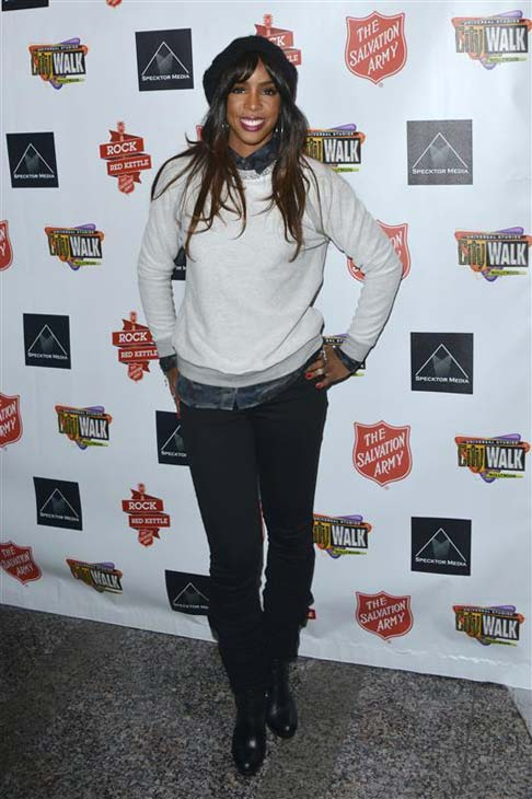 Kelly Rowland appears at the 4th annual Rock the Red Kettle Concert in Los Angeles, California on Dec. 7, 2013.