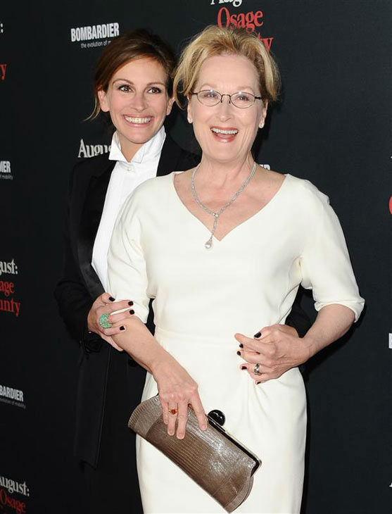 Julia Roberts and Meryl Streep appear at the &#39;August: Osage County&#39; Los Angeles premiere on Dec. 16, 2013. <span class=meta>(Sara De Boer&#47;startraksphoto.com)</span>