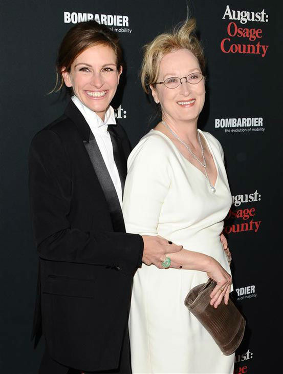 Julia Roberts and Meryl Streep appear at the 'August: Osage County' Los Angeles premiere on Dec. 16, 2013.