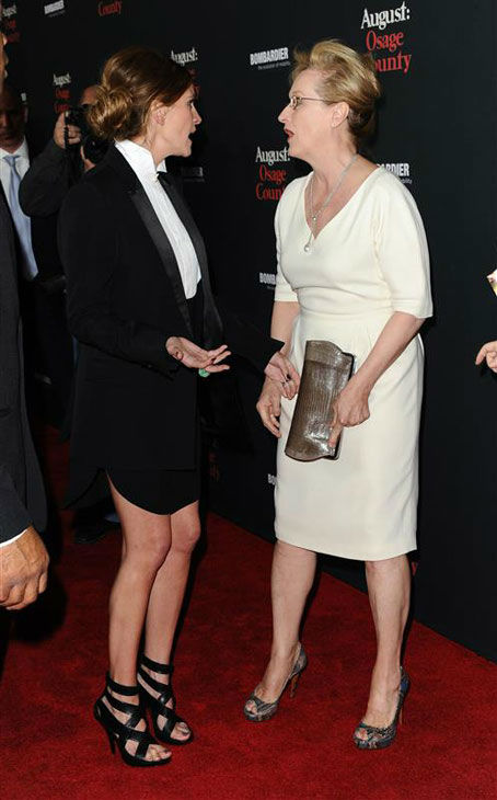 "<div class=""meta image-caption""><div class=""origin-logo origin-image ""><span></span></div><span class=""caption-text"">Julia Roberts and Meryl Streep appear at the 'August: Osage County' Los Angeles premiere on Dec. 16, 2013. (Sara De Boer/startraksphoto.com)</span></div>"