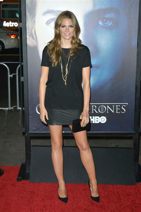 "<div class=""meta image-caption""><div class=""origin-logo origin-image ""><span></span></div><span class=""caption-text"">Stana Katic (ABC's 'Castle') appears at the Los Angeles premiere of the third season of 'Game of Thrones' on March 18, 2013.  (Tony DiMaio / startraksphoto.com)</span></div>"