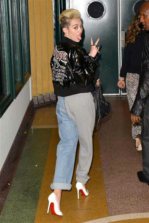 The time Miley Cyrus stuck her tongue out leaving a Myspace event in Los Angeles, California on June 12, 2013.  <span class=meta>(Tony Dimaio &#47; startraksphoto.com)</span>
