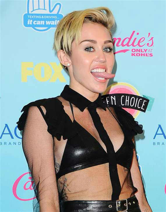 The time Miley Cyrus stuck her tongue out on the red carpet at the 2013 Teen Choice Awards in Los Angeles, California on Aug. 11, 2013. <span class=meta>(Kyle Rover &#47; startraksphoto.com)</span>