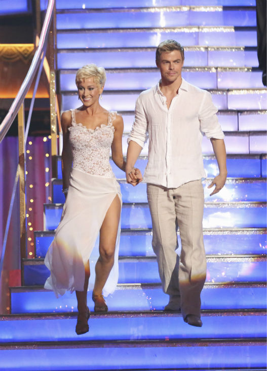 Kellie Pickler and partner Derek Hough prepare to dance on week 4 of season 16 of 'Dancing With The Stars,' which aired on April 8, 2013.