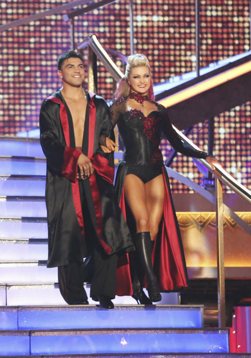 Boxer Victor Ortiz and partner Lindsay Arnold prepare to dance on week 4 of season 16 of 'Dancing With The Stars,' which aired on April 8, 2013.