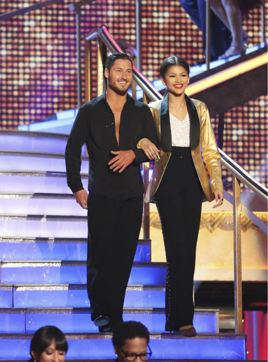Zendaya Coleman and partner Val Chmerkovskiy prepare to dance on week 4 of season 16 of 'Dancing With The Stars,' which aired on April 8, 2013.