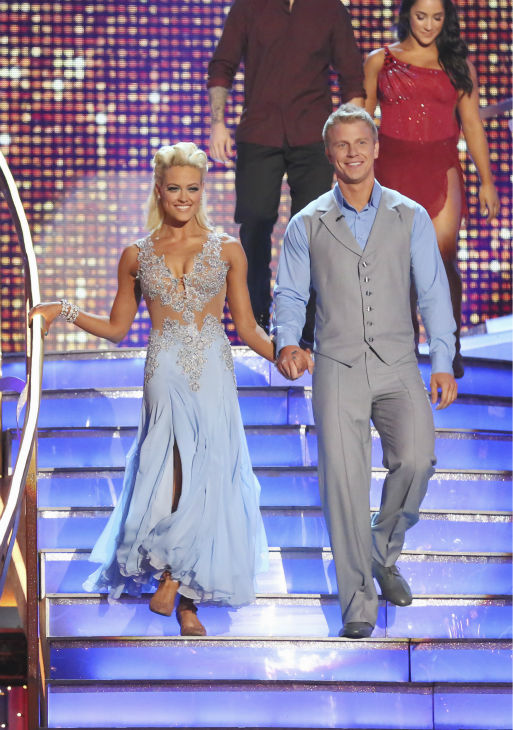 Former 'Bachelor' star Sean Lowe and partner Peta Murgatroyd prepare to dance on week 4 of season 16 of 'Dancing With The Stars,' which aired on April 8, 2013.