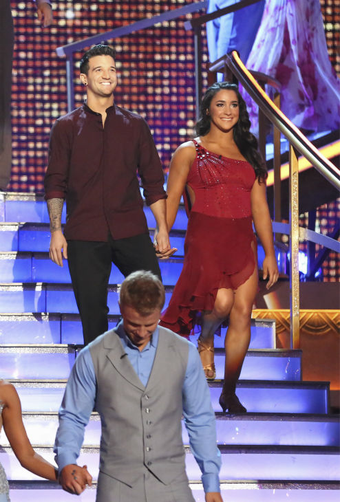 Olympic gymnast Aly Raisman and partner Mark Ballas prepare to dance on week 4 of season 16 of 'Dancing With The Stars,' which aired on April 8, 2013. (Also pictured: Jacoby Jones)