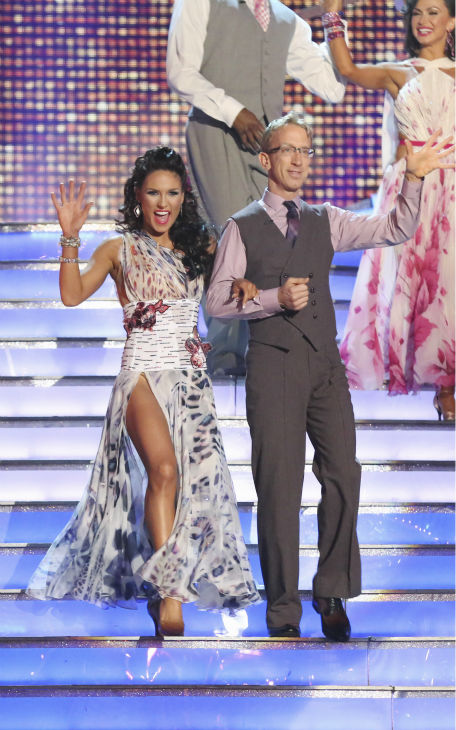 Actor and comedian Andy Dick and partner Sharna Burgess  prepare to dance on week 4 of season 16 of 'Dancing With The Stars,' which aired on April 8, 2013.