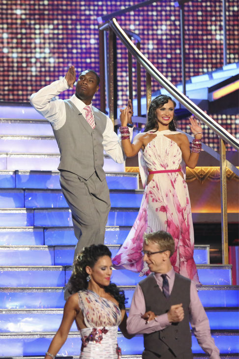NFL player Jacoby Jones and partner Karina Smirnoff prepare to dance on week 4 of season 16 of 'Dancing With The Stars,' which aired on April 8, 2013.