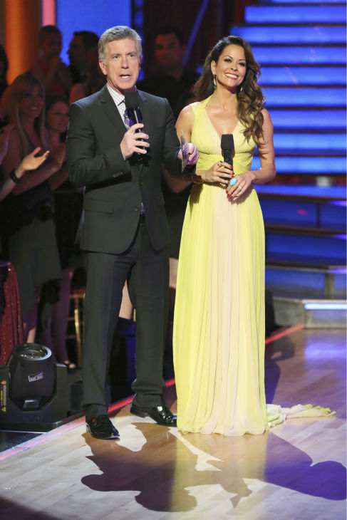 "<div class=""meta ""><span class=""caption-text "">Tom Bergeron and co-host Brooke Burke-Charvet appear during week 4 of season 16 of 'Dancing With The Stars,' which aired on April 8, 2013. (ABC Photo / Adam Taylor)</span></div>"
