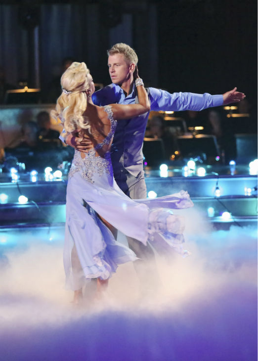 Former 'Bachelor' star Sean Lowe and his partner Peta Murgatroyd appear on 'Dancing With The Stars' on April 8, 2013.