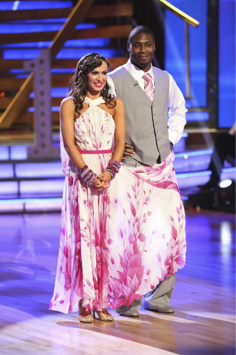 "<div class=""meta image-caption""><div class=""origin-logo origin-image ""><span></span></div><span class=""caption-text"">NFL star Jacoby Jones and his partner Karina Smirnoff received 24 out of 30 points from the judges for their Foxtrot during week 4 of season 16 of 'Dancing With The Stars,' which aired on April 8, 2013. (ABC Photo/ Adam Taylor)</span></div>"