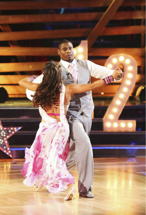 "<div class=""meta image-caption""><div class=""origin-logo origin-image ""><span></span></div><span class=""caption-text"">NFL star Jacoby Jones and his partner Karina Smirnoff received 24 out of 30 points from the judges for their Foxtrot during week 4 of season 16 of 'Dancing With The Stars,' which aired on April 8, 2013. (ABC Photo / Adam Taylor)</span></div>"
