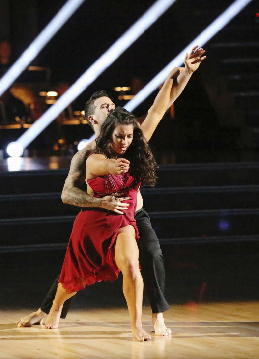 "<div class=""meta image-caption""><div class=""origin-logo origin-image ""><span></span></div><span class=""caption-text"">Olympic gymnast Aly Raisman and her partner Mark Ballas received 27 out of 30 points from the judges for their Contemporary dance during week 4 of season 16 of 'Dancing With The Stars,' which aired on April 8, 2013. (ABC Photo / Adam Taylor)</span></div>"