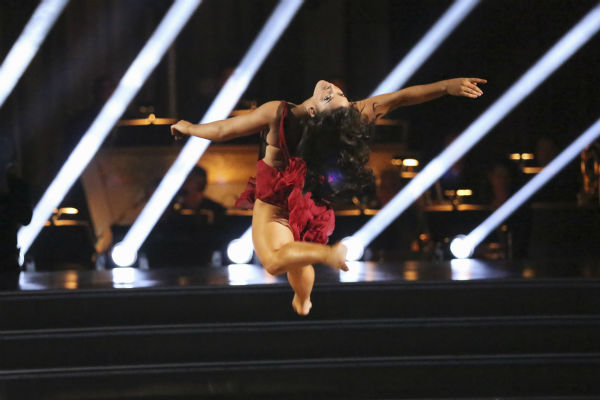Olympic gymnast Aly Raisman and her partner Mark Ballas received 27 out of 30 points from the judges for their Contemporary dance during week 4 of season 16 of &#39;Dancing With The Stars,&#39; which aired on April 8, 2013. <span class=meta>(ABC Photo &#47; Adam Taylor)</span>