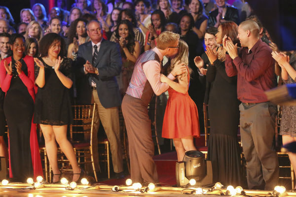 Actor and comedian Andy Dick kisses his 15-year-old daughter after he and partner Sharna Burgess performed a Viennese Waltz, which he had dedicated to the teenager, on week 4 of &#39;Dancing With The Stars&#39; on April 8, 2013. The pair received 21 out of 30 points and judge Carrie Ann Inaba, who lost her father in March, was moved to tears by the performance. <span class=meta>(ABC Photo &#47; Adam Taylor)</span>