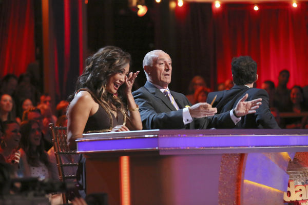 Carrie Ann Inaba wipes tears from her eyes after Andy Dick and partner Sharna Burgess performed a Viennese Waltz, which he had dedicated to his 15-year-old daughter, on week 4 of &#39;Dancing With The Stars&#39; on April 8, 2013. The pair received 21 out of 30 points. Inaba had lost her father in March. <span class=meta>(ABC Photo &#47; Adam Taylor)</span>