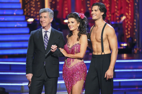 'Real Housewives of Beverly Hills' star Lisa Vanderpump and her partner Gleb Savchenko appear on 'Dancing With The Stars' on April 8, 2013.