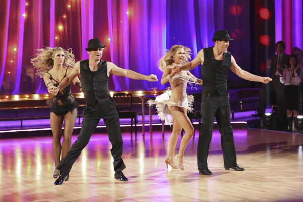 "<div class=""meta image-caption""><div class=""origin-logo origin-image ""><span></span></div><span class=""caption-text"">Actor Ingo Rademacher and regular partner Kym Johnson dance the Cha Cha Cha alongside pro dancers Tony Dovolani and Emma Slater on week five of 'Dancing With The Stars' on April 15, 2013. They received 21 out of 30 points from the judges. (ABC Photo / Adam Taylor)</span></div>"