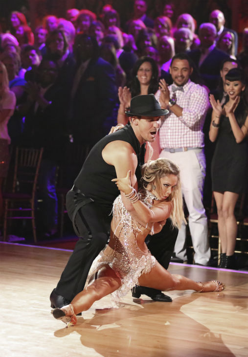 "<div class=""meta ""><span class=""caption-text "">Actor Ingo Rademacher and regular partner Kym Johnson dance the Cha Cha Cha alongside pro dancers Tony Dovolani and Emma Slater on week five of 'Dancing With The Stars' on April 15, 2013. They received 21 out of 30 points from the judges. (ABC Photo / Adam Taylor)</span></div>"