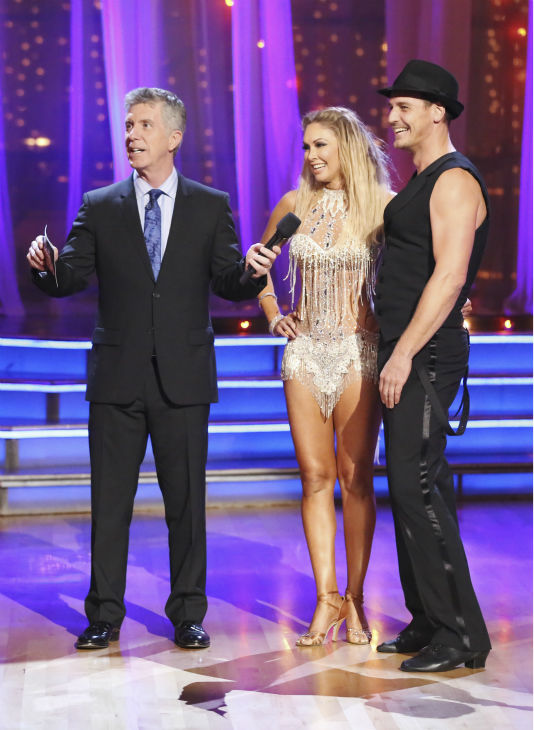 "<div class=""meta image-caption""><div class=""origin-logo origin-image ""><span></span></div><span class=""caption-text"">Ingo Rademacher and regular partner Kym Johnson dance the Cha Cha Cha alongside pro dancers Tony Dovolani and Emma Slater on week five of 'Dancing With The Stars' on April 15, 2013. They received 21 out of 30 points from the judges. (ABC Photo / Adam Taylor)</span></div>"