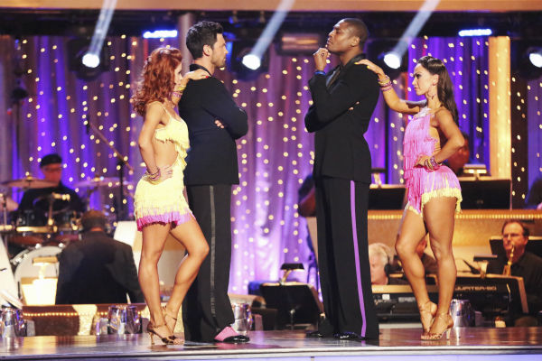 "<div class=""meta image-caption""><div class=""origin-logo origin-image ""><span></span></div><span class=""caption-text"">NFL star Jacoby Jones and his partner Karina Smirnoff received 26 out of 30 points from the judges for their Jive during week five of 'Dancing With The Stars,' which aired on April 15, 2013. Also pictured: Dancers Anna Trebunskaya and Maksim Chmerkovskiy. (ABC Photo / Adam Taylor)</span></div>"